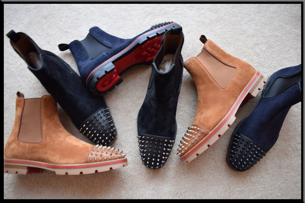 Christian Louboutin Melon Boot Spikes in Camel, Blue, and Black