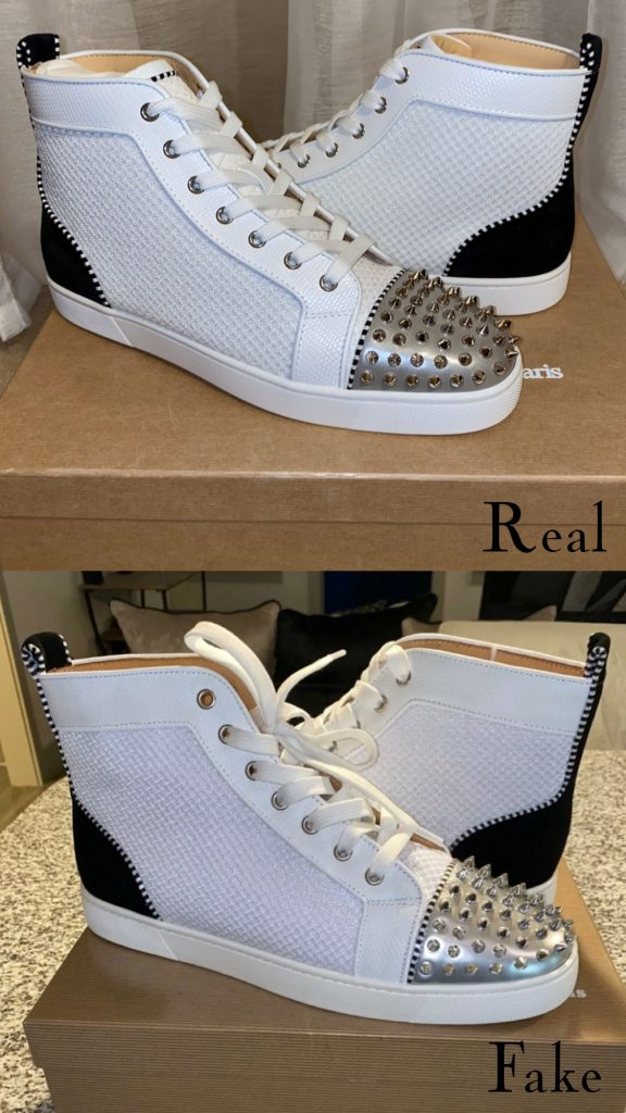 Christian Louboutin Lou Spike sneaker real vs fake comparison - spike differences