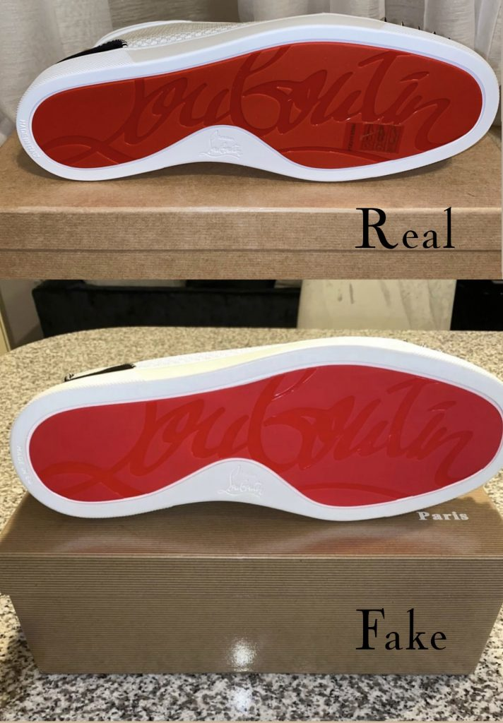 Christian Louboutin Lou Spike sneaker real vs fake comparison - red bottom sole differences