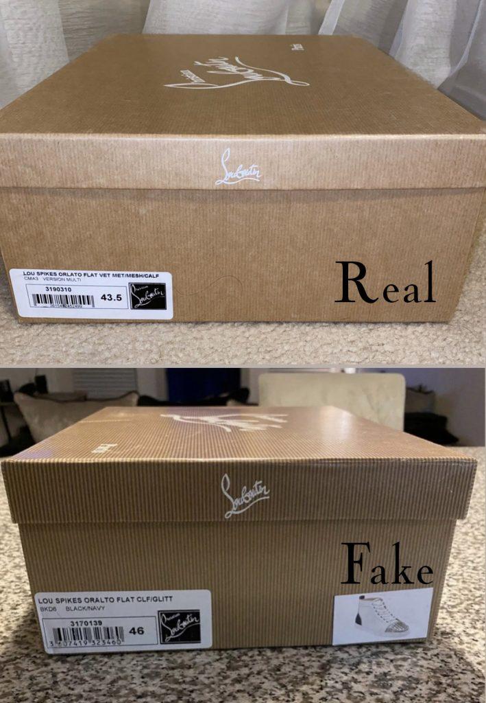 Christian Louboutin Lou Spike sneaker real vs fake comparison - box differences
