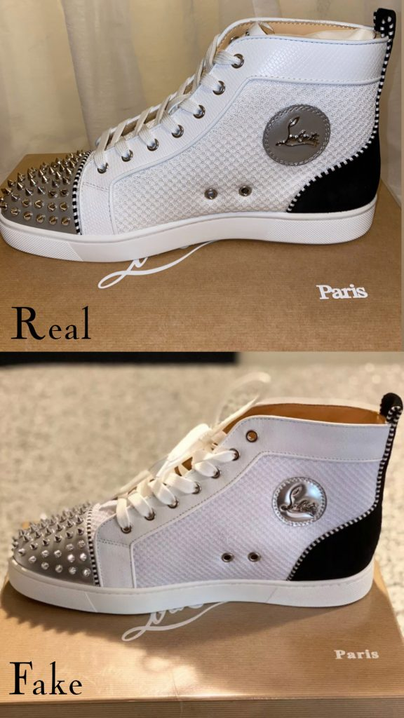 Christian Louboutin Lou Spike sneaker real vs fake comparison - structure